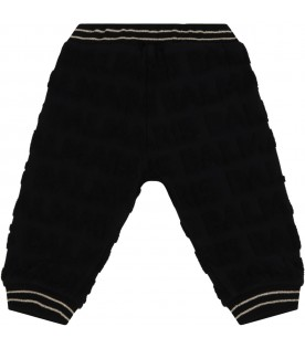 Black trousers for babykids with logo