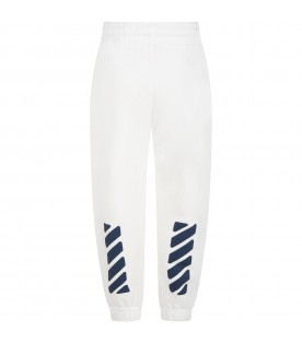 White sweatpants for boy with logo