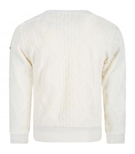 Ivory sweater for kids with iconic patch