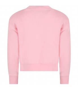Pink sweatshirt for girl with bear and logo