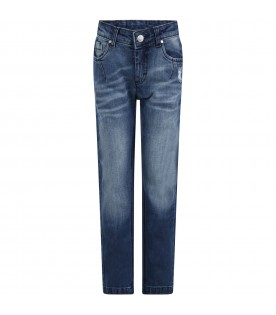 Blue jeans for boy with black logo