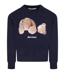 Blue sweatshirt for kids with bear and logo