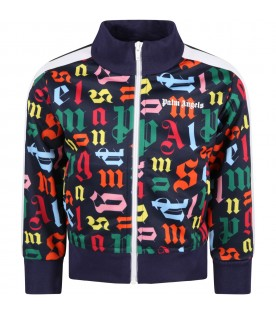 Blue sweatshirt for kids with multicolor logo