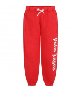 Red sweatpants for kids with white logo