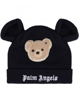 Blue hat for kids with bear and logo
