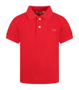 Red polo t-shirt for kids with logo