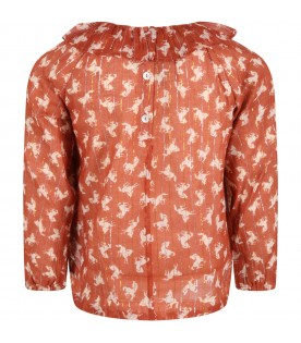 Brown blouse for girl with horses