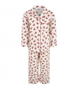 Ivory pajamas for kids with small horses