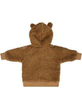 Brown sweatshirt for babykids with patch
