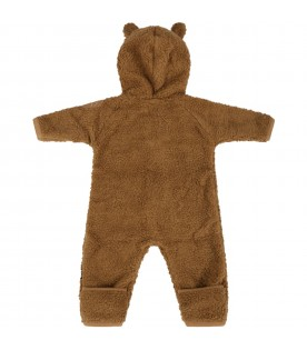 Brown jumpsuit for babykids with patch