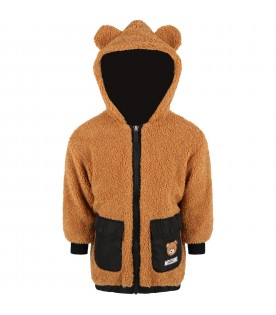 Brown jacket for kids with teddy bear