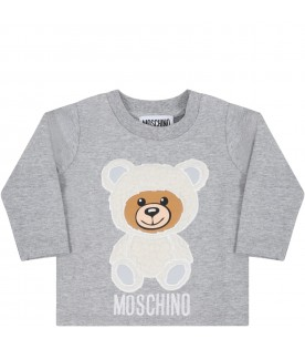 Grey t-shirt for baby kids with teddy bear