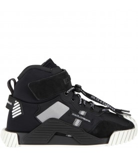 Black sneakers for kids with logos