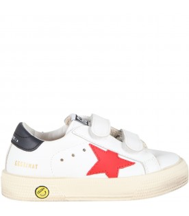 White ''May school'' sneakers for kids