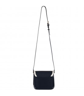 Blue bag for girl with white cherries