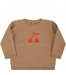 Brown cashmere for baby girl avec red cherries