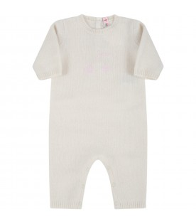 Ivory jumpsuit for baby girl with cherries