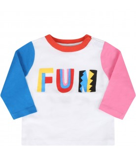 White t-shirt for baby kids with writing