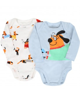 Multicolor set for baby boy with dog