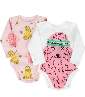 Multicolor set for baby girl with poodle