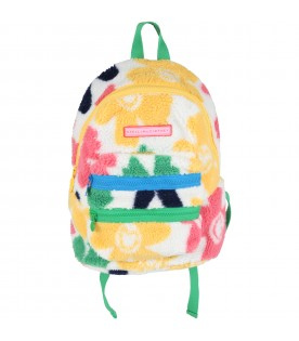 White backpack for girl with flowers