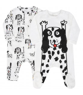 White set for baby kids with dalmatian