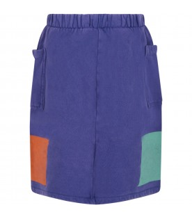 Blue skirt for girl with colorful details