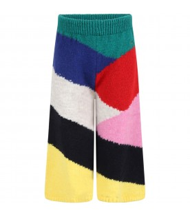 Multicolor trousers for girl with logo