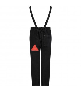 Black dungarees for kids with geometric desings