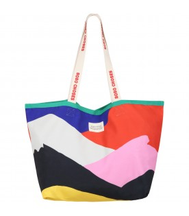 Multicolor bag for kids with patch logo