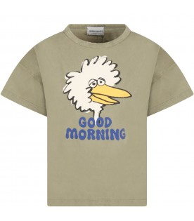 Green T-shirt for kids with bird