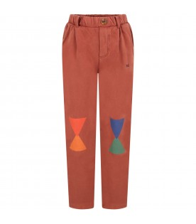 Brown sweatpants for kids with geometric figures