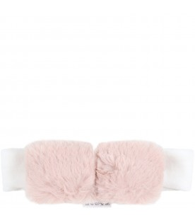 White headband for baby girl with bow