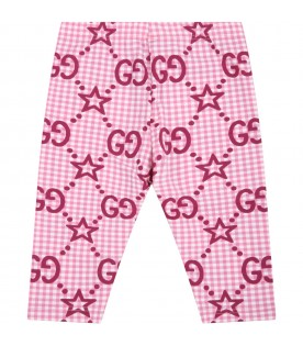 Pink leggings for baby girl with double GG and stars