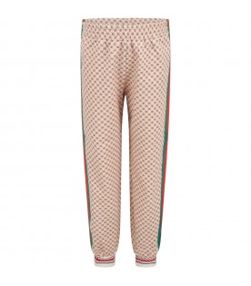 Beige trousers for kids with double GG