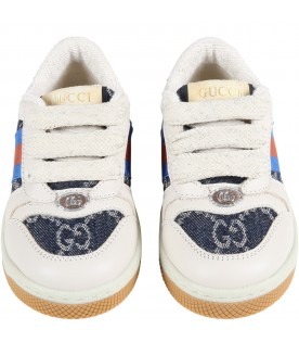 Beige sneakers for baby kids with web details