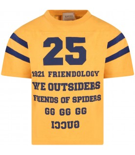 Yellow T-shirt for kids with Friendology writing and logo
