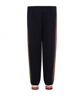 Blue sweatpants for boy with web details and logo