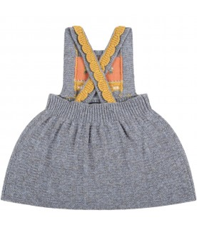 Gray dress for baby girl with logo