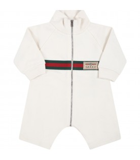 Ivory jumpsuit for baby kids with web details