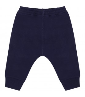 Blue sweatpants for baby boy with patch logo