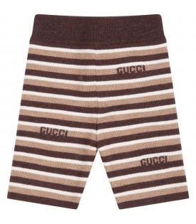 Multicolor trousers for baby kids with brown logo
