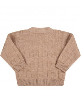 Brown cardigan for baby kids with logo