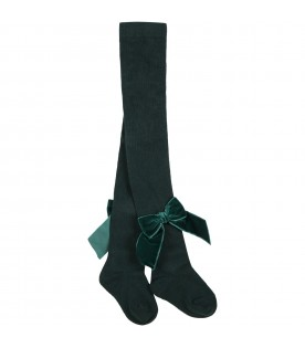 Green tights for girl with bow