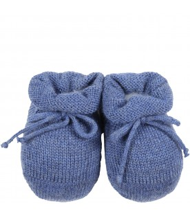 Blue baby-bootee for baby boy with bow