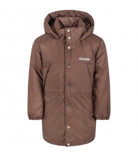 Brown jacket for kids with silver logo