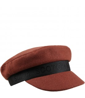 Brown hat for kids with logo