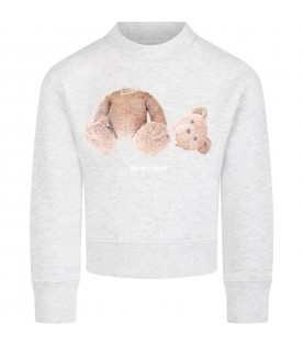 Gray sweatshirt for kids with iconic bear and white logo