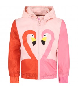 Pink windbreaker for girl with flamingos