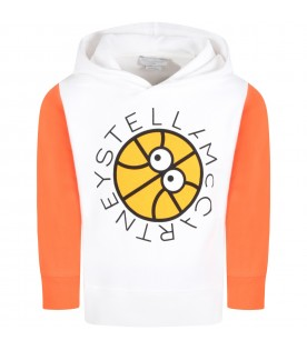 White sweatshirt for kids with basketball and logo